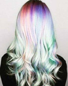 holographic hair, opal hair, unicorn hair
