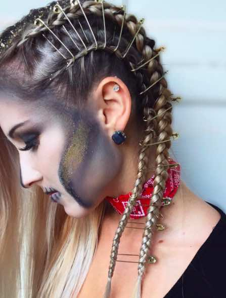 Halloween Hair, Safety Pin Braids