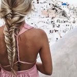 Young blonde with pretty braids styled with Number 4 Hair Care
