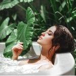 Woman enjoying a hair spa treatment